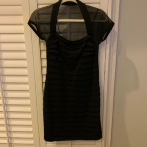 Black Shift Dress with Sheer Shoulders - flawless!